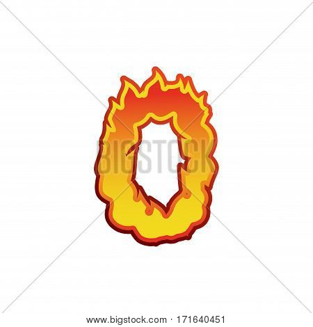 Number 0 Fire. Flames Font Zero. Tattoo Alphabet Character. Fiery Sign Abc