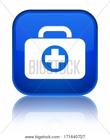 First Aid Kit Bag Icon Shiny Blue Square Button