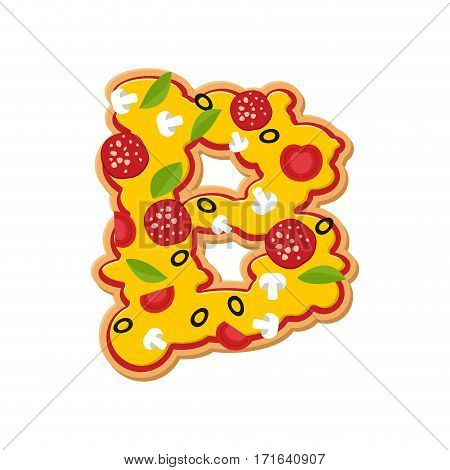 Letter B Pizza Font. Italian Meal Alphabet. Lettring Fast Food