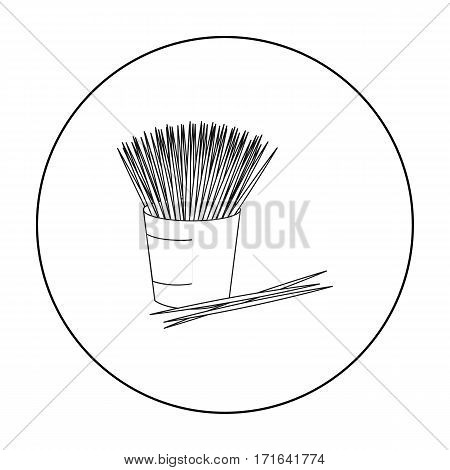 Toothpicks icon in outline style isolated on white background. Dental care symbol vector illustration.