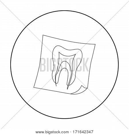 Dental x-ray icon in outline style isolated on white background. Dental care symbol vector illustration.