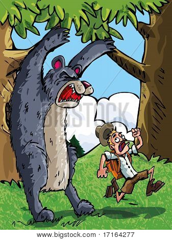 Cartoon of bear scaring a camper with a backpack poster