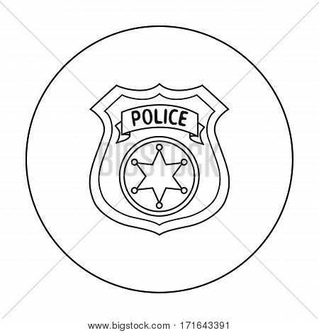 Police officer badge icon in outline style isolated on white background. Crime symbol vector illustration.