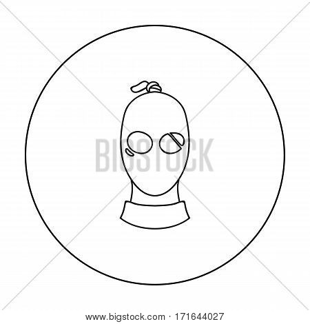 Thief icon in outline style isolated on white background. Crime symbol vector illustration.