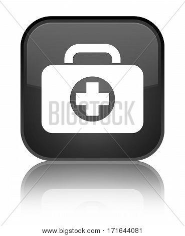 First Aid Kit Bag Icon Shiny Black Square Button