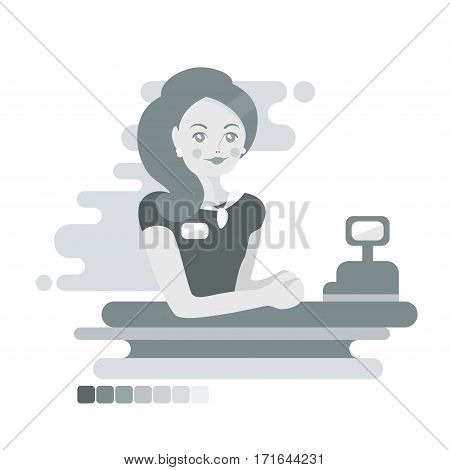 Flat woman cashier or worker. Monochrome illustration