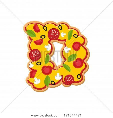 Letter D Pizza Font. Italian Meal Alphabet. Lettring Fast Food