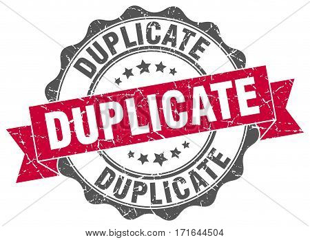 duplicate. stamp. sign. seal. round. retro. ribbon