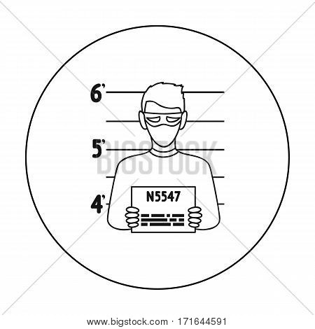 Prisoner's photography icon in outline style isolated on white background. Crime symbol vector illustration.