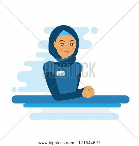 Muslim woman administrator or worker. Colorful flat illustration