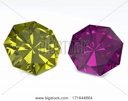 Yellow And Purple Diamonds Isolated On White