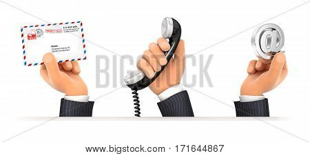 3d hands holding three contact symbols illustration with isolated white background
