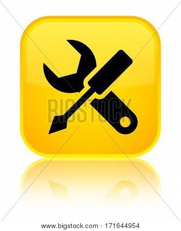 Settings Icon Shiny Yellow Square Button