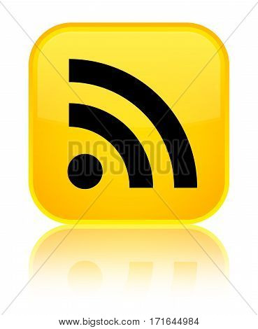Rss Icon Shiny Yellow Square Button