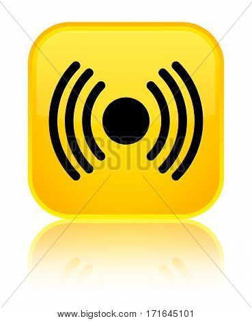 Network Signal Icon Shiny Yellow Square Button