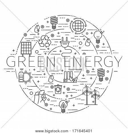 Outline icons set - green energy, eco, recycle for your design