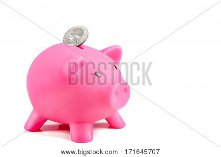 Piggybank with United States Quarter coin with copy space