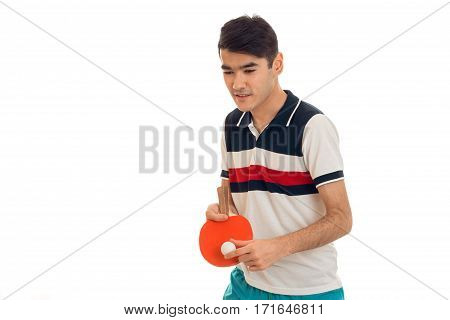 nice brunette sports man practicing ping-ping isolated on white