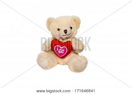 Teddy bear and big red heart with text I Love You