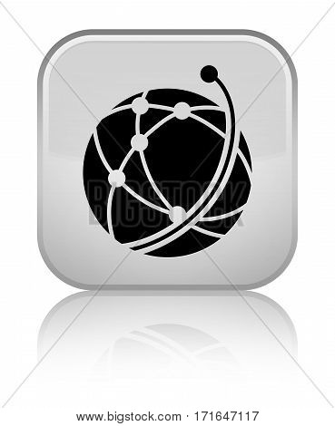 Global Network Icon Shiny White Square Button