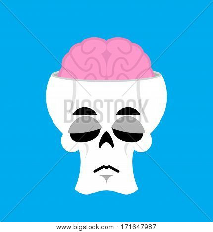 Skull And Brain Sad Emoji. Skeleton Head  Sorrowful Emotion Isolated