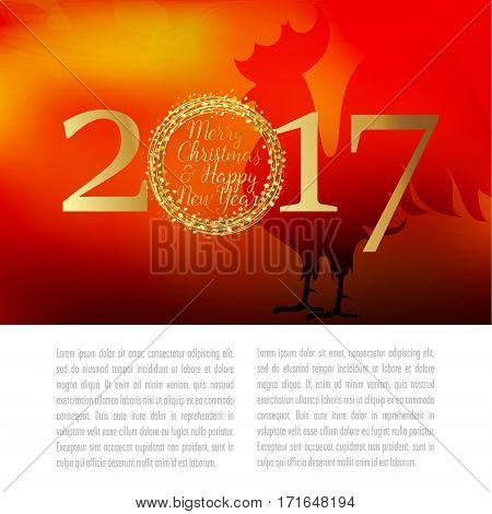 greeting the new year in 2017 is decorated with a red background and the silhouette of a rooster. rooster symbol of the new year.