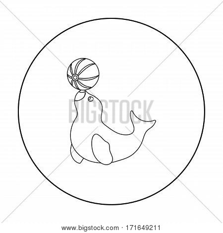 Trained fur seal icon in outline style isolated on white background. Circus symbol vector illustration.