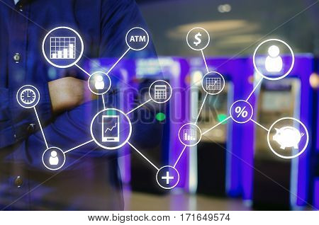 Double exposure of man and cross one's arm and finance icon financial concept with abstract blurred background of ATMs Machine for withdraw or deposit cash money, color tone effect.