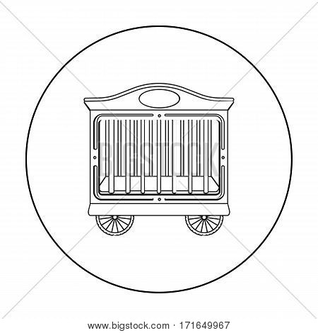 Circus wagon icon in outline style isolated on white background. Circus symbol vector illustration.