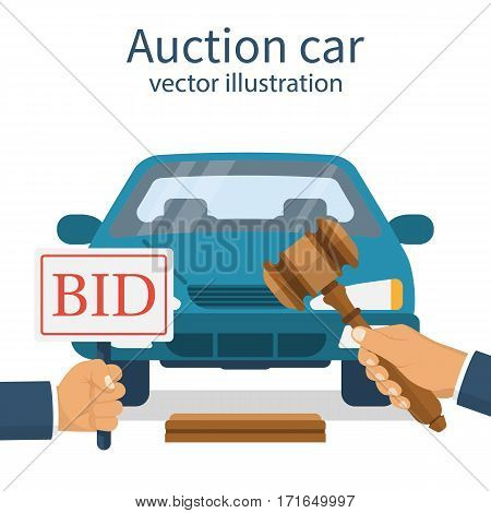 Auction car. A man stands at the auction. Auctioneer holding a gavel in his hand. Offer to purchase. Auto isolated on the background. Vector illustration flat design. Bidding concept. Selling vehicle.
