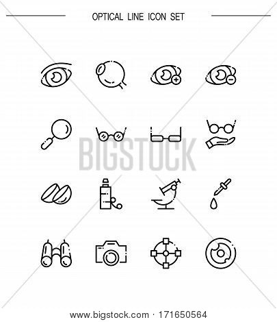 Optical flat icon set. Collection of high quality outline symbols for web design, mobile app. Optical vector thin line icons or logo.