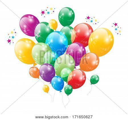 Birthday Anniversary Party Flying Ballon Festival Vector
