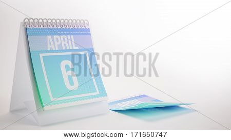3D Rendering Trendy Colors Calendar On White Background - April 6