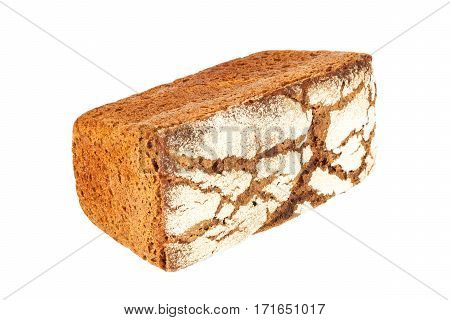 Delicious rye-wheat bread closeup isolated on white background