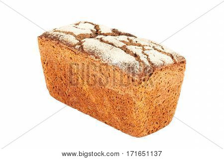 Rye-wheat tin bread closeup isolated on white background