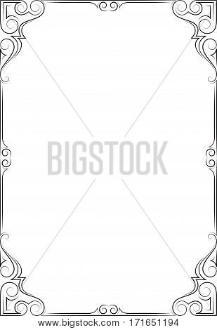 Ornate rectangular black frame, calligraphic lines. Letter page proportions.
