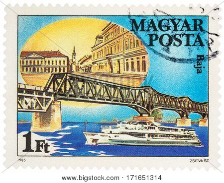 MOSCOW RUSSIA - February 13 2017: A stamp printed in Hungary shows bridge across the Danube in Baja (Hungary) series