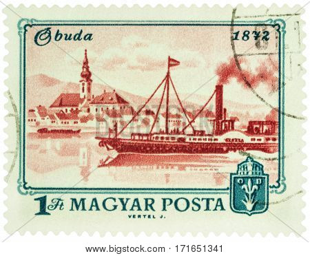 MOSCOW RUSSIA - February 12 2017: A stamp printed in Hungary shows Buda and Danube river in 1872 series