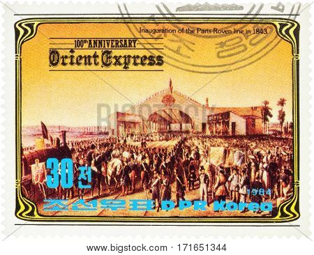 MOSCOW RUSSIA - February 13 2017: A stamp printed in North Korea shows Inauguration of the Paris-Roven railway line in 1843 series