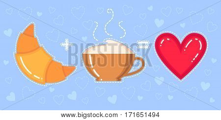 Funny vector illustration of croissant cappuccino cup and red heart on blue background