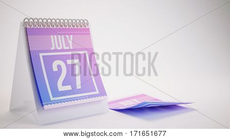 3D Rendering Trendy Colors Calendar On White Background - July 27