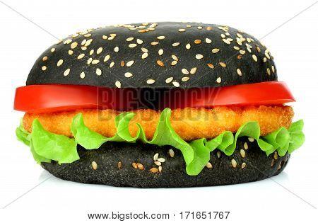 Big black hamburger with chicken cutlet on white background