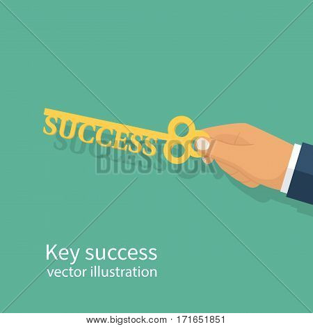 Businessman hand holding a key of success. Perspective development opportunities. Goals achievement. Business metaphor. Big opportunities. Vector illustration flat design. Isolated on white background