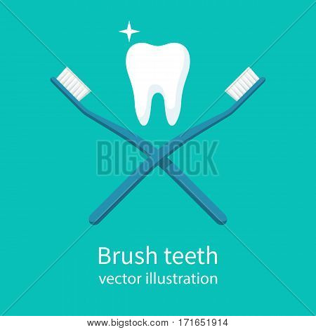 Healthy tooth between two cross toothbrushes. Brush teeth. Dentistry symbol. Vector illustration flat design. Isolated on white background. Sign of good oral hygiene.