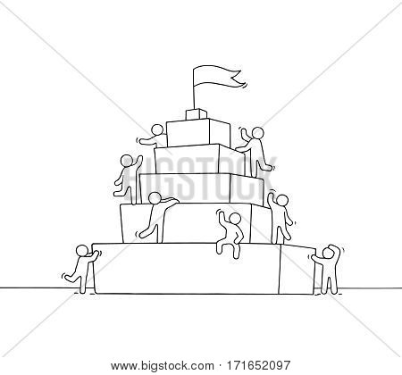 Sketch of working little people with piramide. Doodle cute miniature scene of workers about leadership. Hand drawn cartoon vector illustration for business design and infographic.
