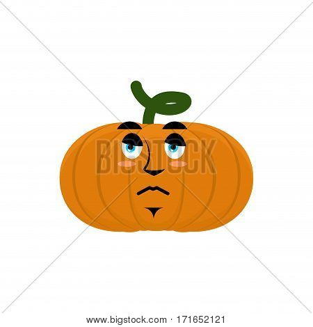 Pumpkin Sad Angry Emoji. Halloween Vegetable Sorrowful Emotion Isolated