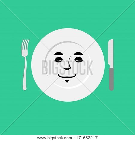 Plate Sleeping Emoji. Empty Dish Isolated Asleep Emotion