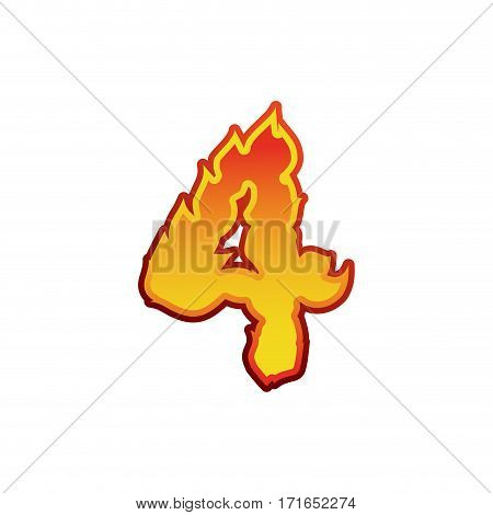 Number 4 Fire. Flames Font Four. Tattoo Alphabet Character. Fiery Sign Abc