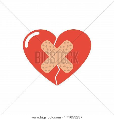Heart break seal the plaster. Reconciliation concept. Abstract vector illustration flat design. Isolated on white background. Medical bandage.