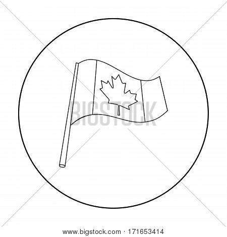 Canadian flag icon in outline style isolated on white background. Canadian Thanksgiving Day symbol vector illustration.